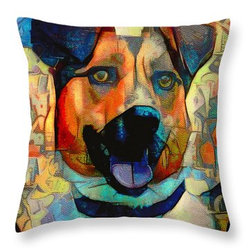 Dog And Cubes Throw Pillow