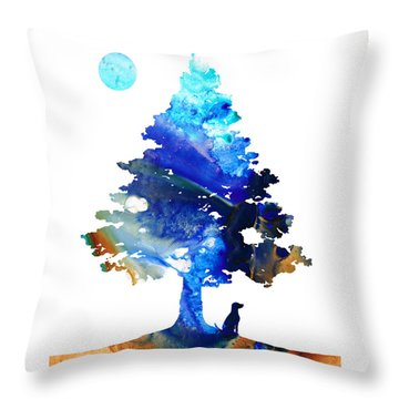 Dog Art - Contemplation - By Sharon Cummings Throw Pillow