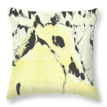 Dog At The Beach - Black Ivory 1 Throw Pillow