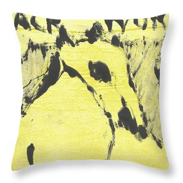 Dog At The Beach - Black Ivory 3 Throw Pillow