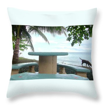 Dog By The Beach In Rincon Throw Pillow