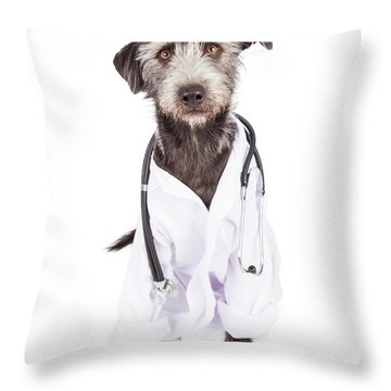 Dog Dressed As Veterinarian Throw Pillow
