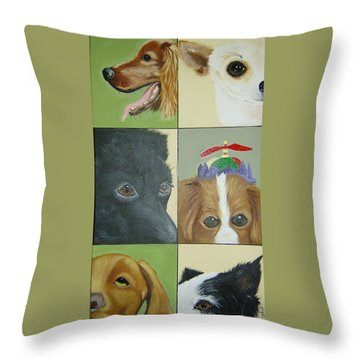 Dog Faces Of Love Throw Pillow