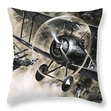 Dog Fight Between British Biplanes And A German Triplane Throw Pillow by Wilf Hardy