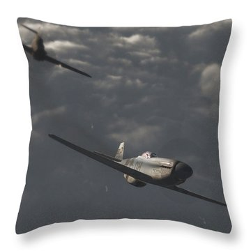 Dog Fight Throw Pillow by Richard Rizzo
