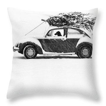 Dog In Car  Throw Pillow
