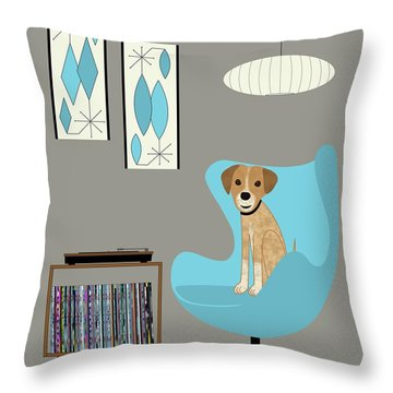 Dog In Egg Chair Throw Pillow