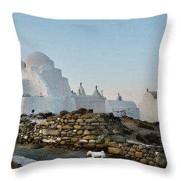 Dog In Mykonos Throw Pillow