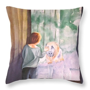 Throw Pillow featuring the painting Dog In The Window by Teresa Beyer