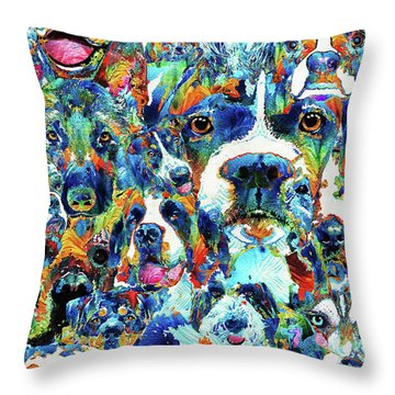 Dog Lovers Delight - Sharon Cummings Throw Pillow by Sharon Cummings