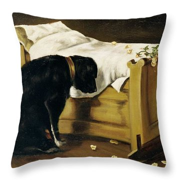 Dog Mourning Its Little Master Throw Pillow by A Archer