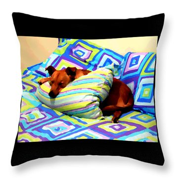 Dog Nap - Oil Effect Throw Pillow
