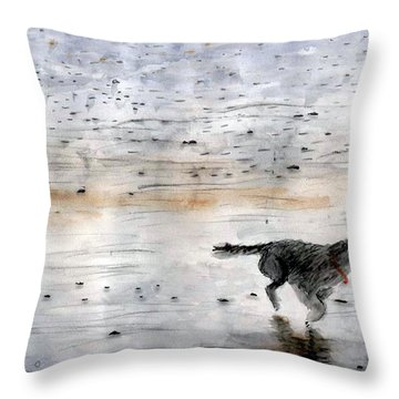 Dog On Beach Throw Pillow by Chriss Pagani
