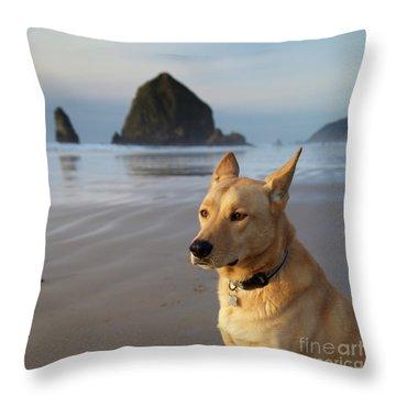Dog Portrait @ Cannon Beach Throw Pillow