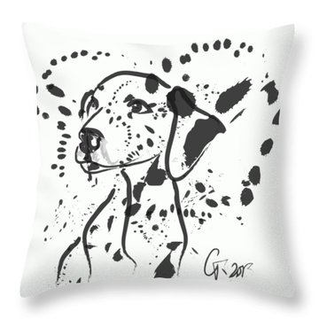 Throw Pillow featuring the painting Dog Spot by Go Van Kampen