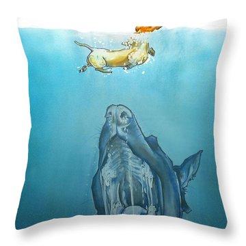 Dog-themed Jaws Caricature Art Print Throw Pillow