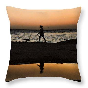 Dog Walker At Sunset Throw Pillow