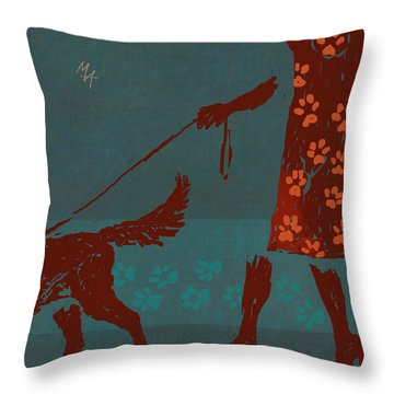 Dog Walker Throw Pillow
