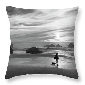 Dog Walker Bw Throw Pillow
