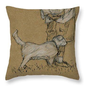 Dog Walker Plein Air Throw Pillow