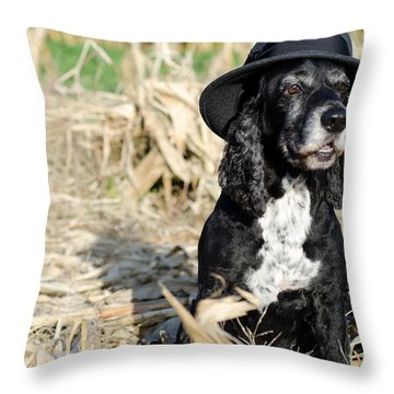 Dog With A Hat Throw Pillow