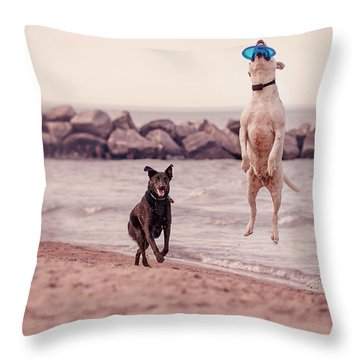 Dog With Frisbee Throw Pillow