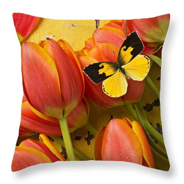 Dogface Butterfly And Tulips Throw Pillow