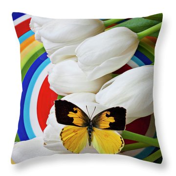 Dogface Butterfly On White Tulips Throw Pillow by Garry Gay