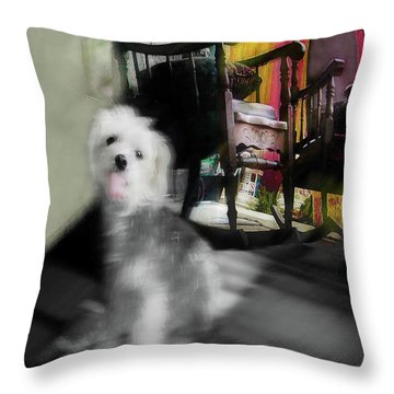 Doggie In The Patio Painting Throw Pillow