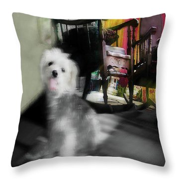 Dogie In The Patio Art  Throw Pillow
