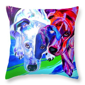Dogs - Tango And Marley Throw Pillow by Alicia VanNoy Call