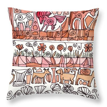 Dogs And Shapes Throw Pillow by Linda Kay Thomas