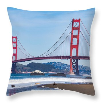 Dogs At The Golden Gate Bridge Throw Pillow