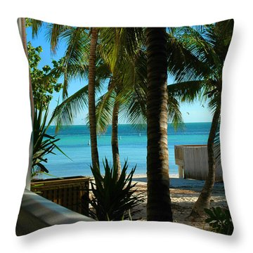 Dog's Beach Key West Fl Throw Pillow by Susanne Van Hulst
