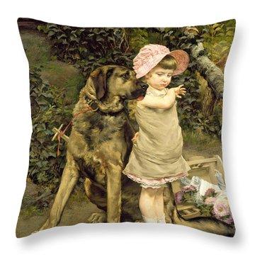 Dog's Company Throw Pillow by Edgard Farasyn