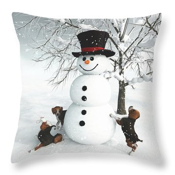 Dogs Discovering A Snowman Throw Pillow