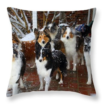 Dogs During Snowmageddon Throw Pillow