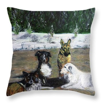 Dogs Having A Meeting Throw Pillow