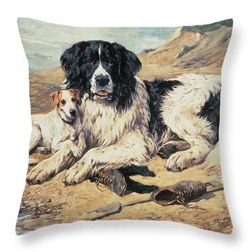 Dogs Watching Bathers Throw Pillow