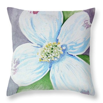 Dogwood Bloom Throw Pillow by Loretta Nash