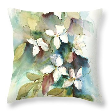 Throw Pillow featuring the painting Dogwood Branch by Sandra Strohschein