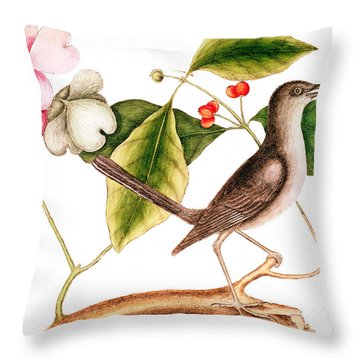 Dogwood  Cornus Florida, And Mocking Bird  Throw Pillow
