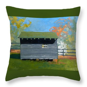 Dogwood Farm Shed Throw Pillow by Catherine Twomey