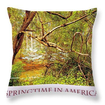 Throw Pillow featuring the photograph Dogwood Tree In The Forest Spring by A Gurmankin