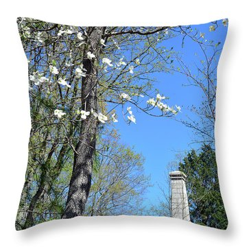 Dogwoods On Crest Of Kings Mountain National Military Park Throw Pillow by Bruce Gourley