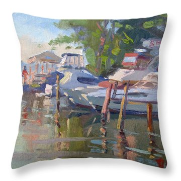 Docks At The Shores  Throw Pillow