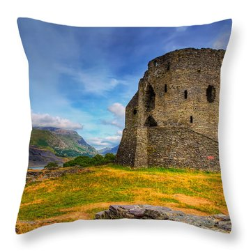 Dolbadarn Castle  Throw Pillow by Adrian Evans