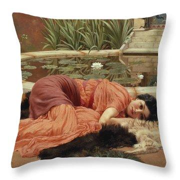 Dolce Far Niente Throw Pillow by John William Godward