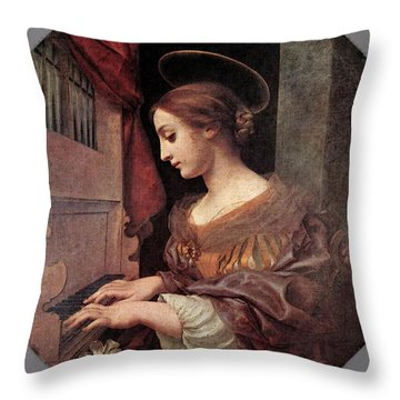 Dolci Carlo St Cecilia At The Organ Throw Pillow by Carlo Dolci