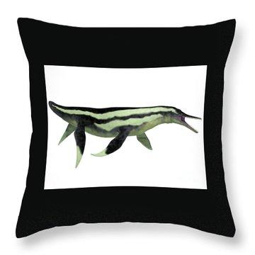 Dolichorhynchops Plesiosaur On White Throw Pillow by Corey Ford